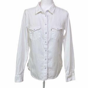 Levi's Classic Fit White Denim Button Front Shirt